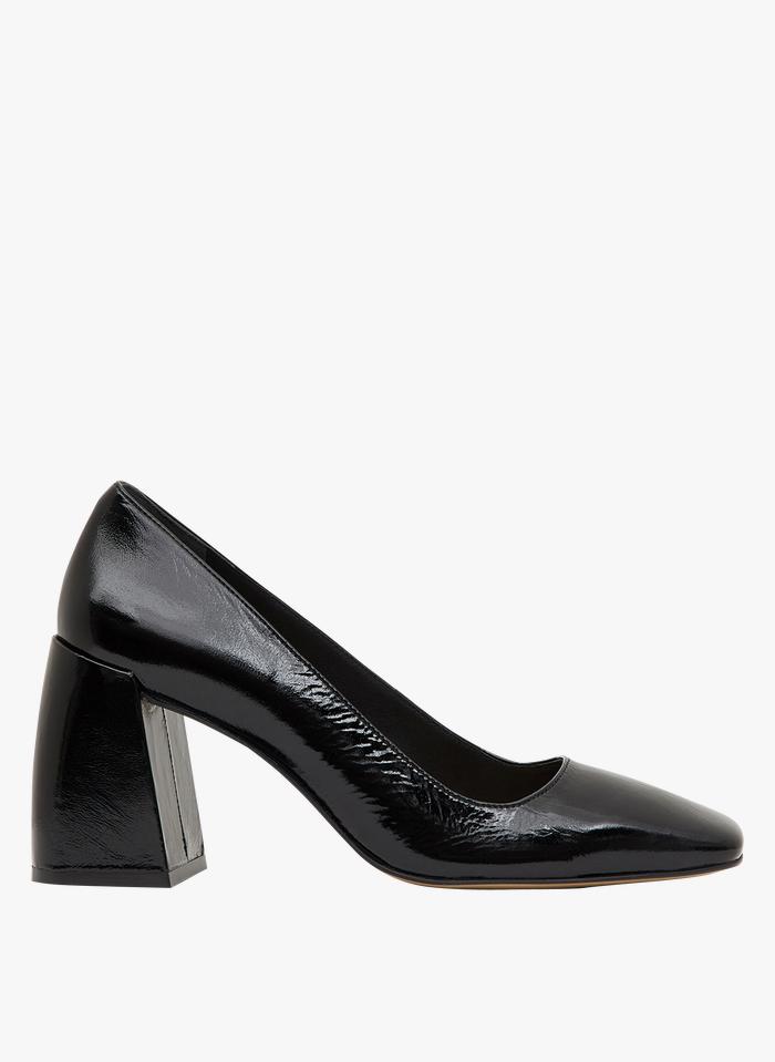 MINELLI Zapatos de salón de piel con tacón cuadrado en negro