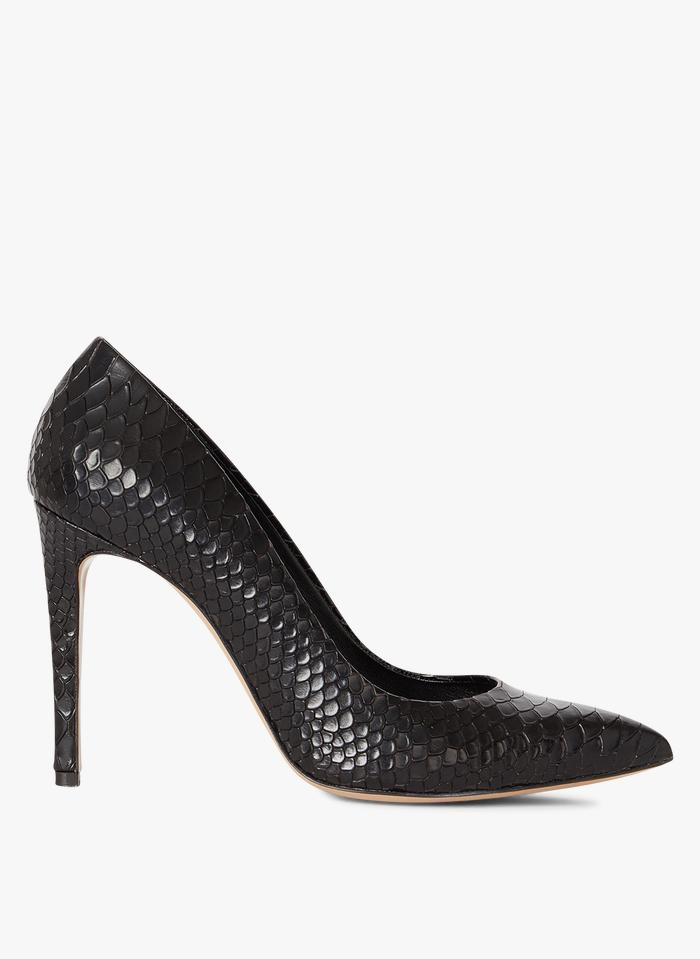 MINELLI Zapatos de salón de piel imitación serpiente en negro