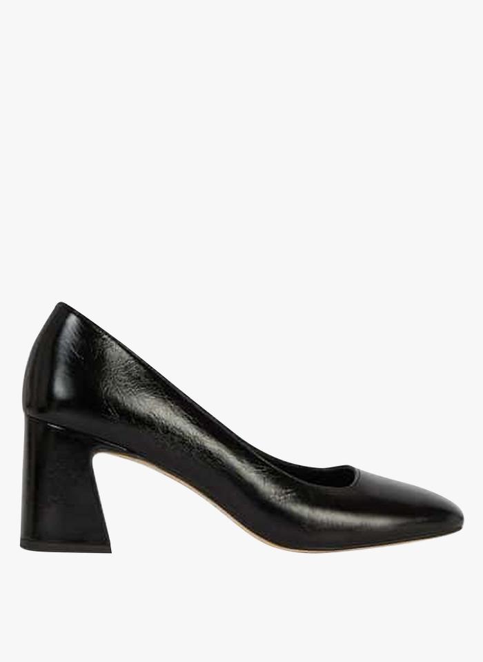 MINELLI Zapatos de tacón piel con puntera cuadrada en negro