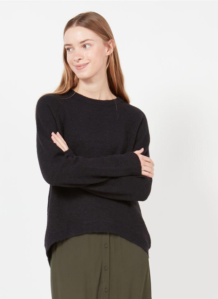 MINIMUM Jersey de mezcla de punto con cuello redondo en negro