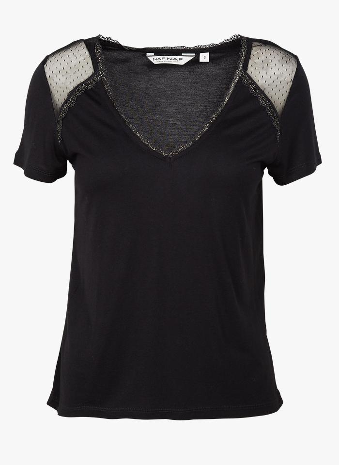 NAF NAF Camiseta de manga corta en dos materiales con cuello de pico en negro
