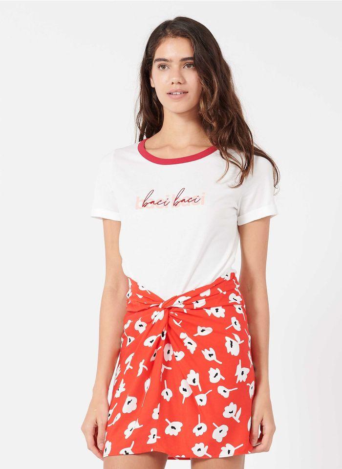NAF NAF Camiseta de mezcla de algodón serigrafiada con cuello redondo en blanco