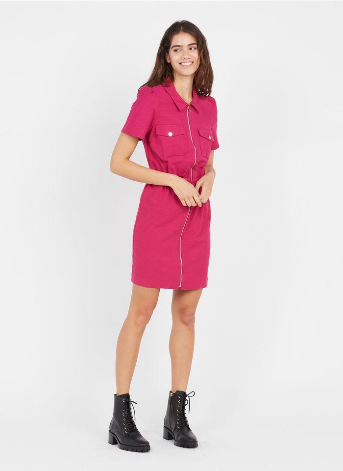 NAF NAF Vestido corto con cuello clásico y cremallera en rosa