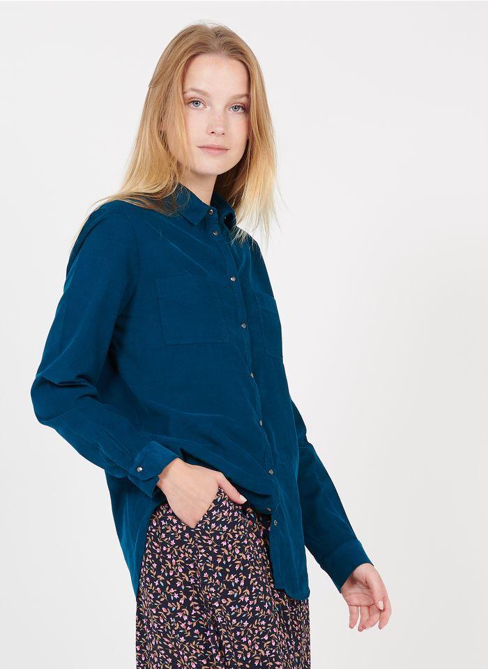 ONE STEP Camisa de terciopelo con cuello clásico en azul