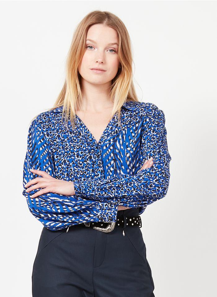 ONE STEP Camisa estampada con cuello clásico en azul