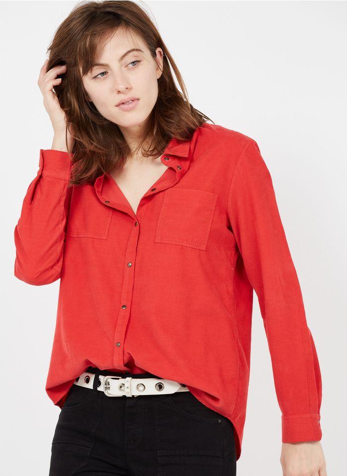 ONE STEP Camisa de terciopelo con cuello clásico en rojo