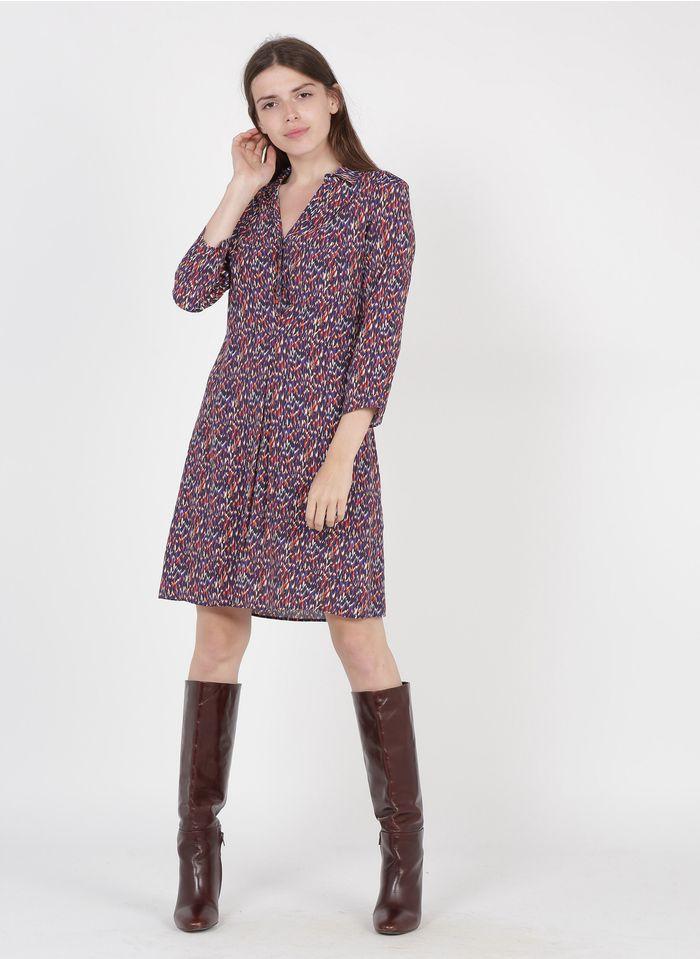 ONE STEP Vestido corto estampado con cuello clásico en morado