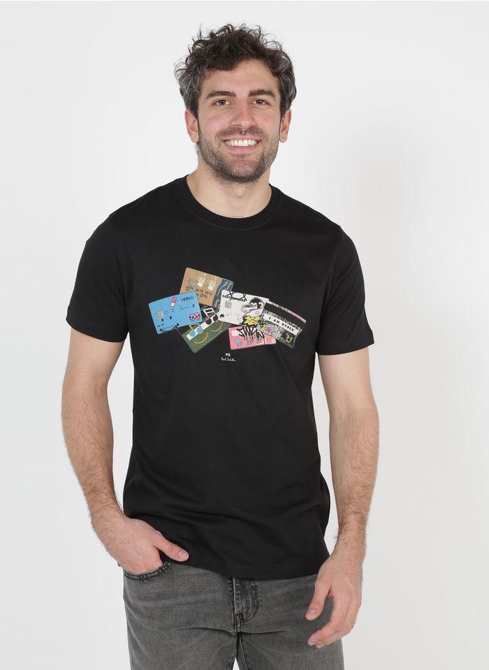PAUL SMITH Camiseta de algodón orgánico serigrafiada slim fit con cuello redondo en negro