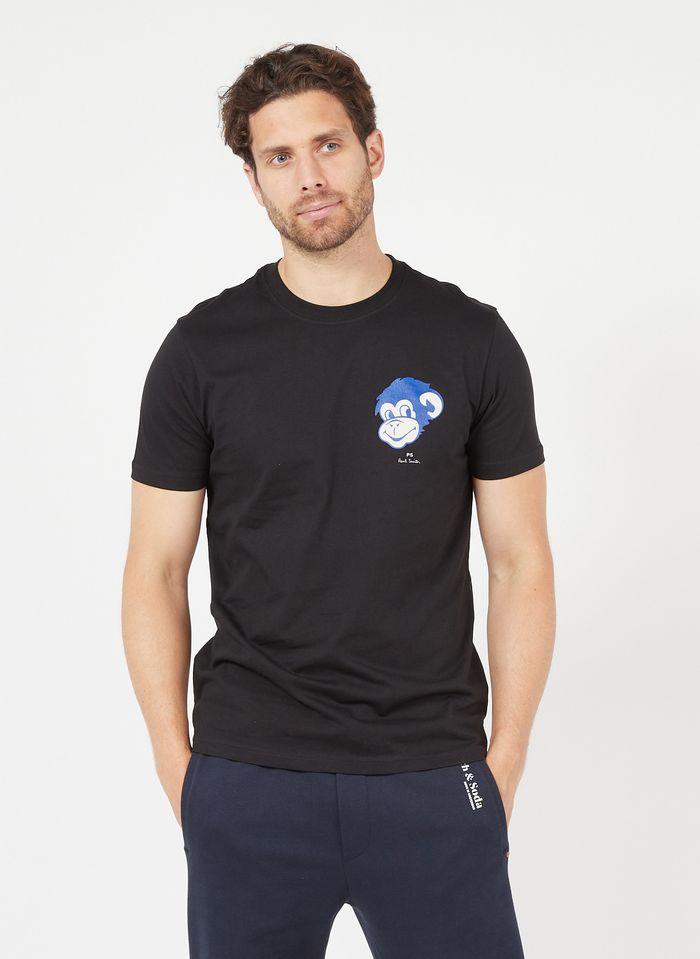 PAUL SMITH Camiseta serigrafiada de algodón orgánico con cuello redondo en negro