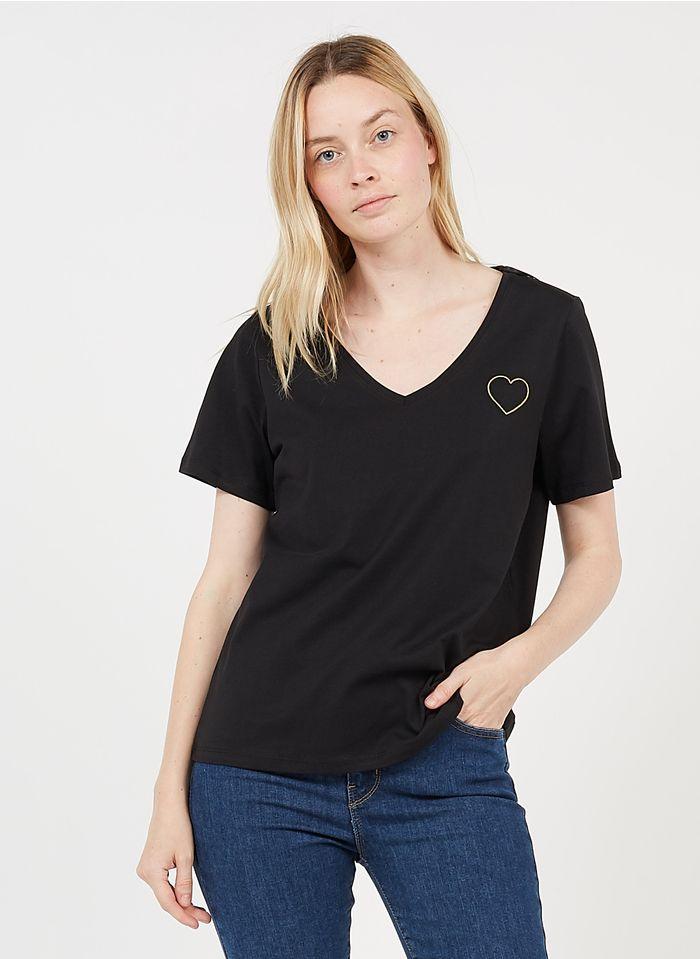 PIECES Camiseta bordada de algodón con cuello de pico en negro