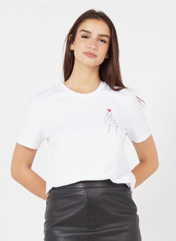 PIECES Camiseta de mezcla de algodón con cuello redondo en blanco