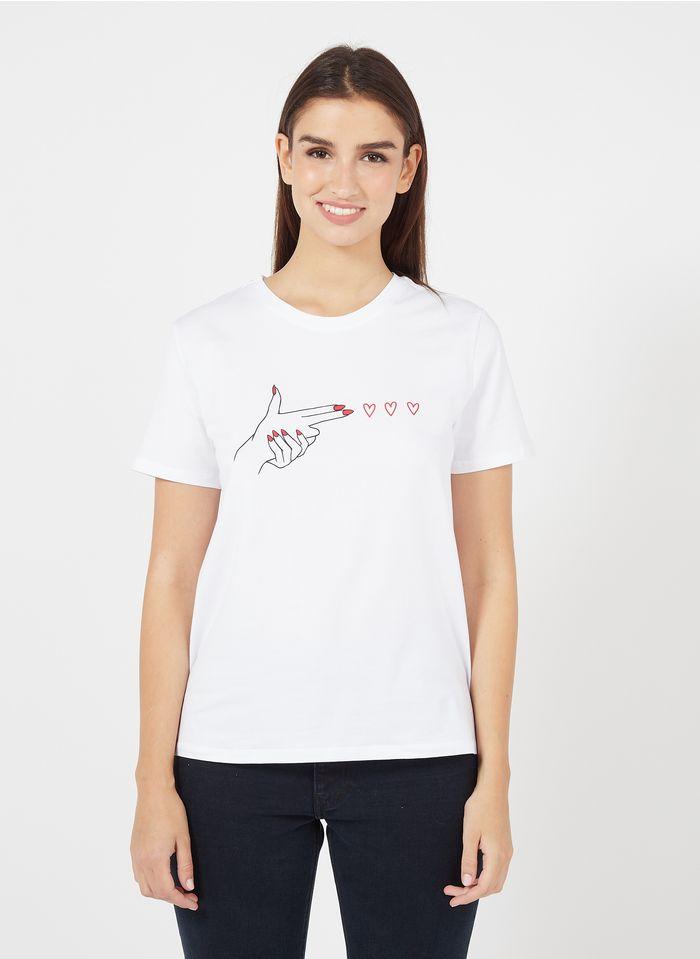 PIECES Camiseta de mezcla de algodón estampada con cuello redondo en blanco