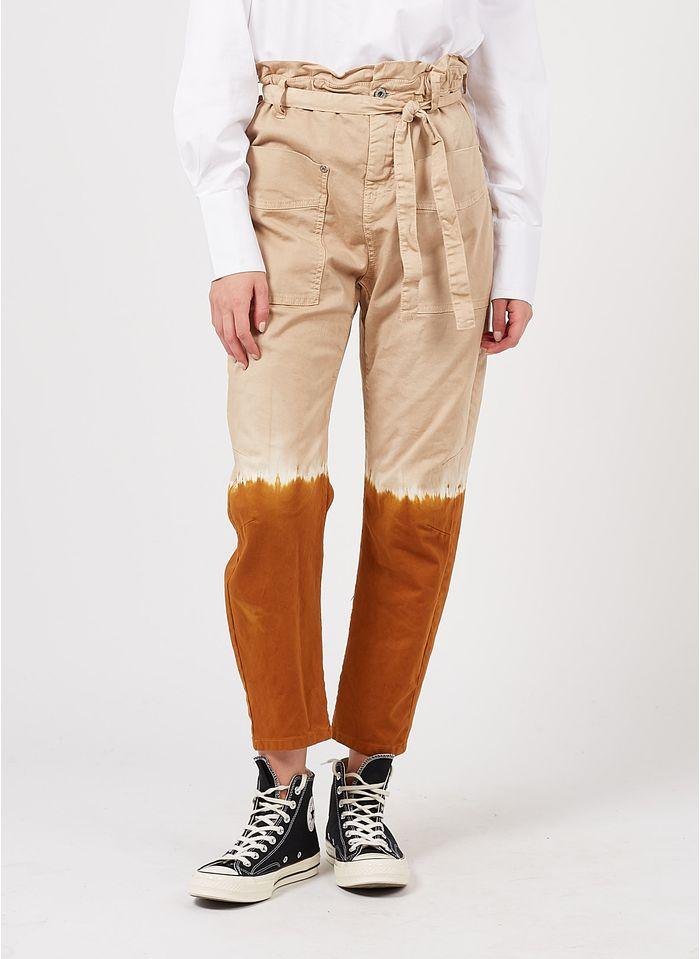 PLEASE Pantalón recto de mezcla de algodón con estampado tie-dye en beige