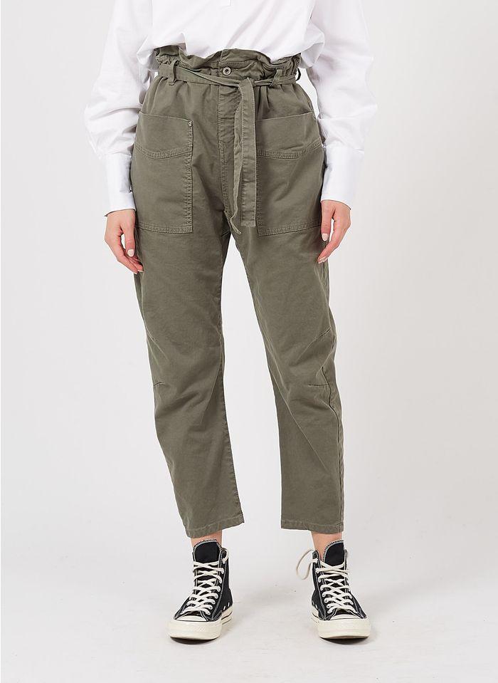 PLEASE Pantalón recto de mezcla de algodón en gris