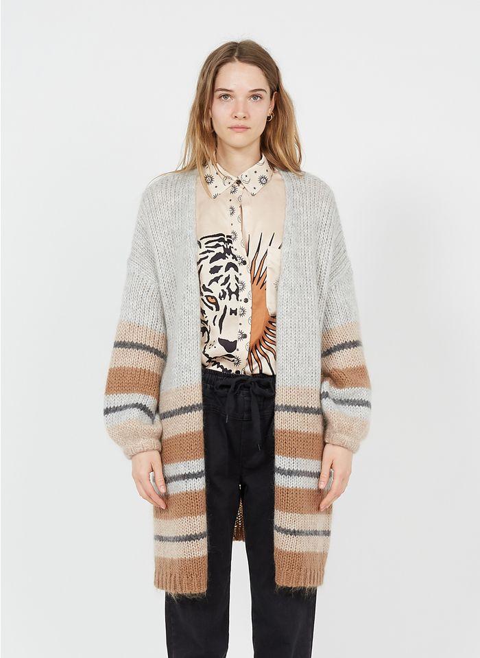 SACK S Cárdigan largo de mezcla de lana y mohair a rayas en marrón