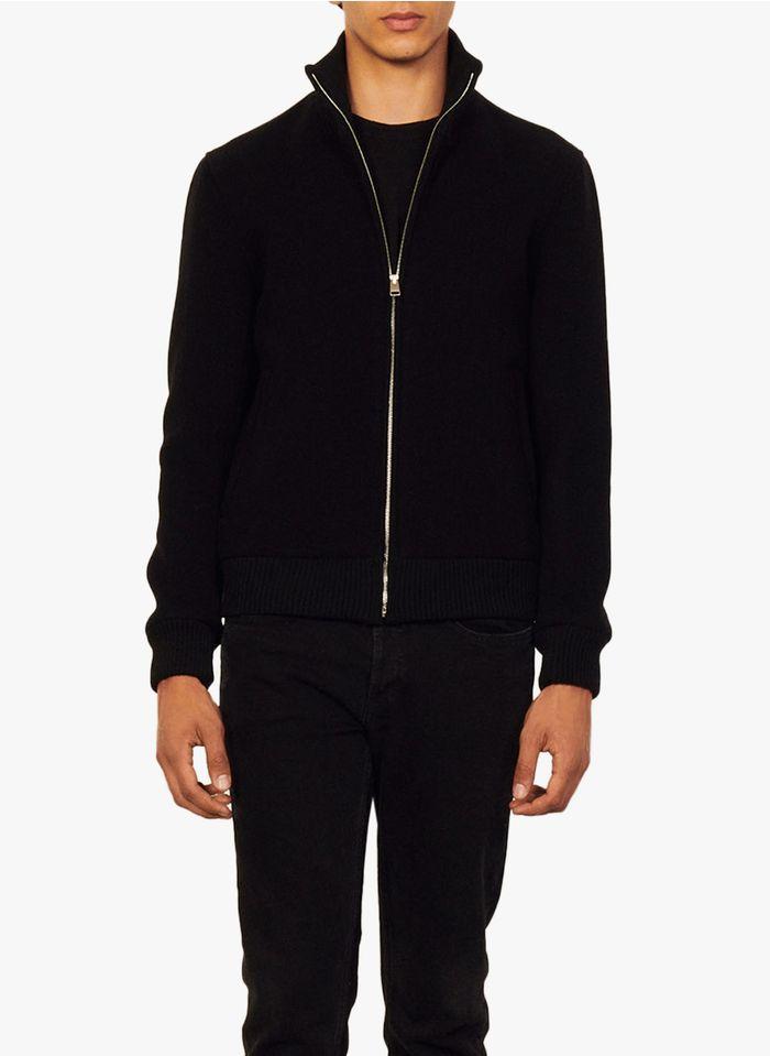 SANDRO Cazadora de mezcla de lana con cuello alto y cremallera en negro
