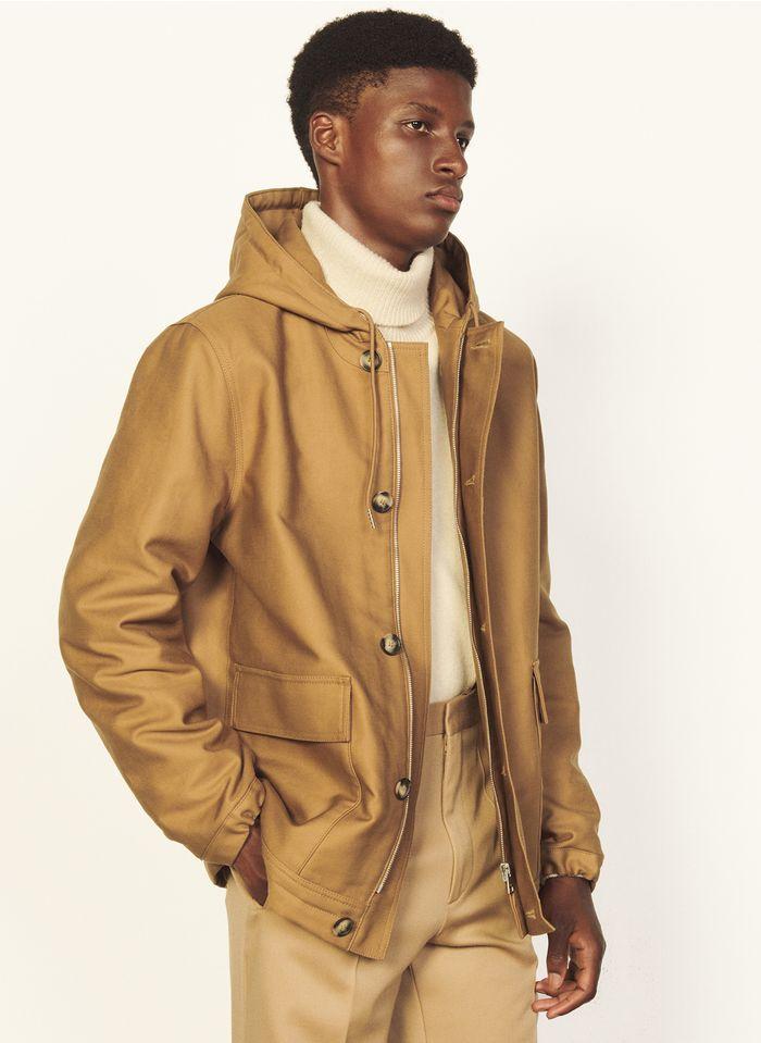 SANDRO Cazadora regular fit de algodón con capucha en marrón
