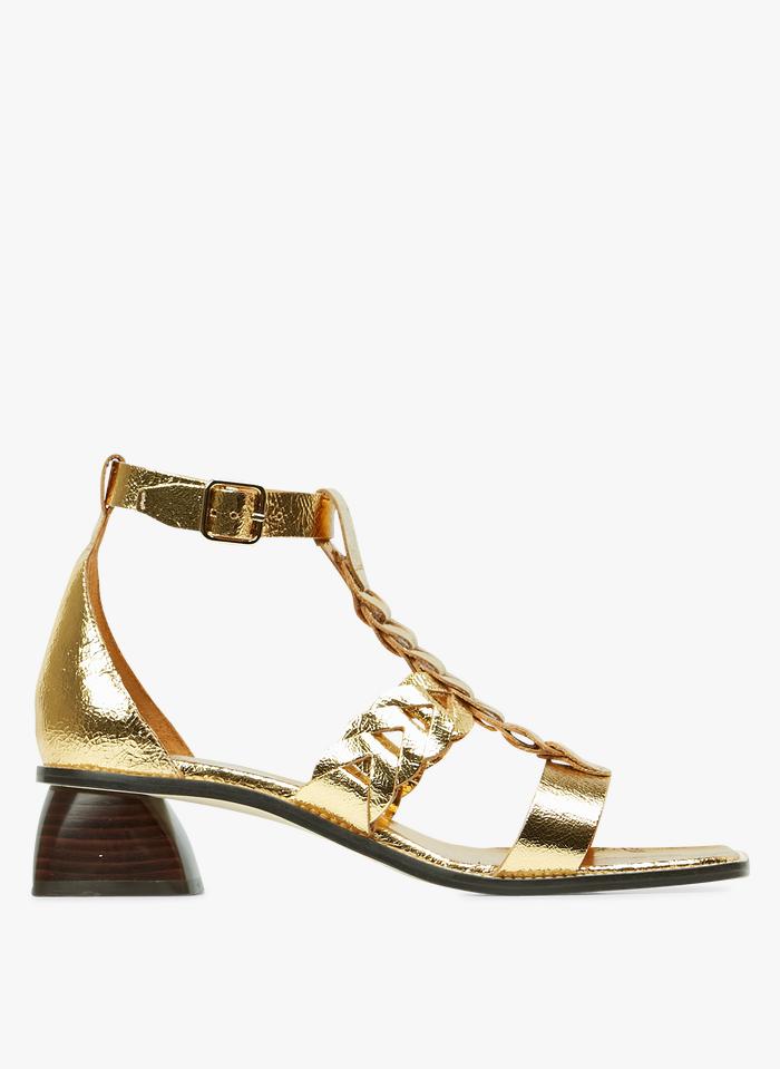 SANDRO Sandalias de piel trenzadas en dorado