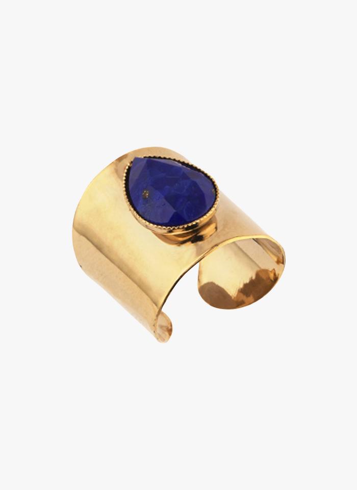 SATELLITE PARIS Anillo oversize ajustable en azul