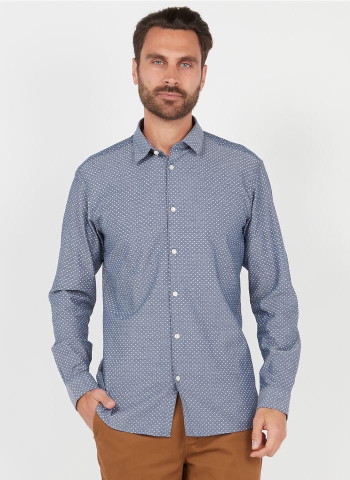 SELECTED Camisa de algodón orgánico con cuello clásico y micromotivos en azul