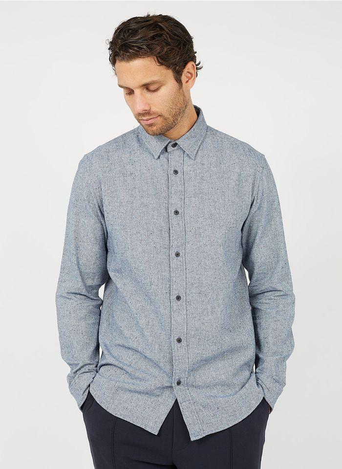 SELECTED Camisa de algodón regular fit con cuello clásico en azul