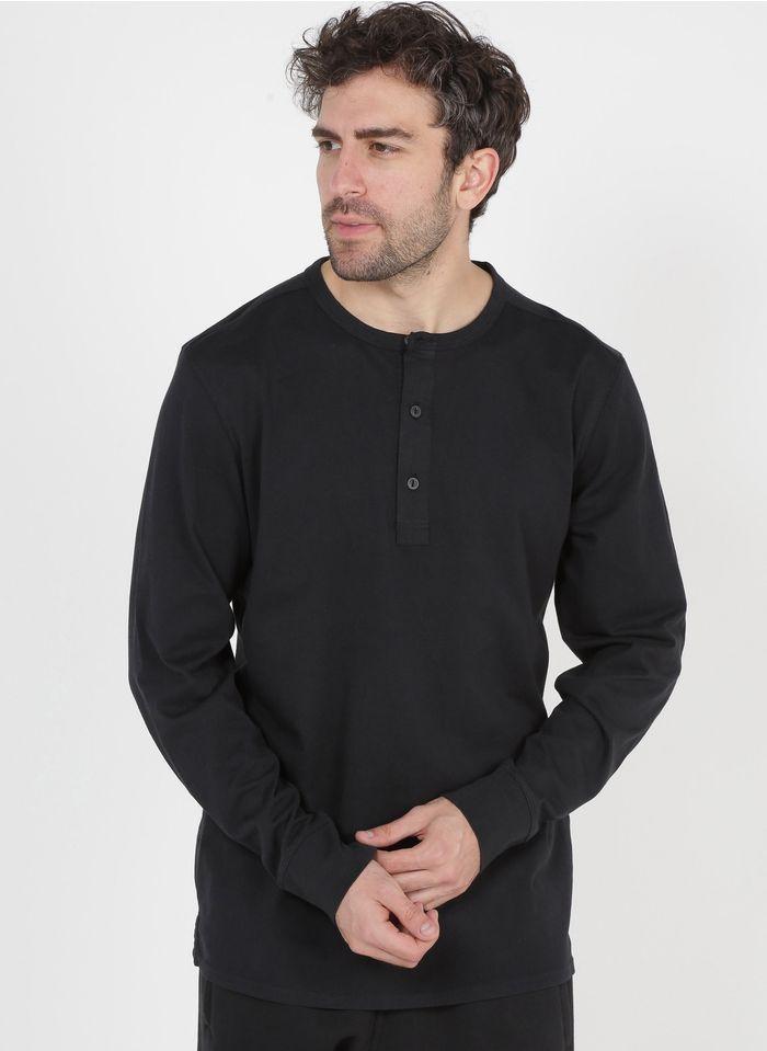 SELECTED Camiseta de algodón orgánico con cuello redondo en negro
