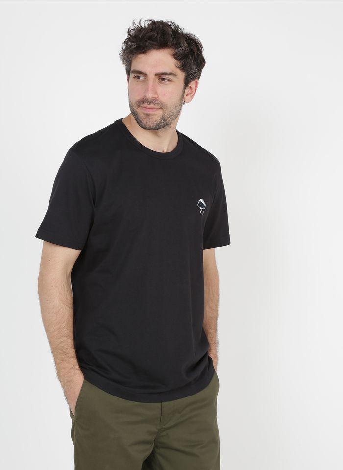 SELECTED Camiseta regular fit de algodón orgánico bordada con cuello redondo en negro