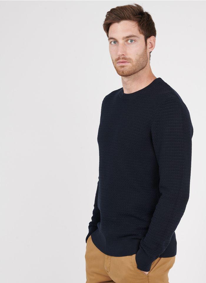 SELECTED Jersey de algodón orgánico con cuello redondo slim fit en azul