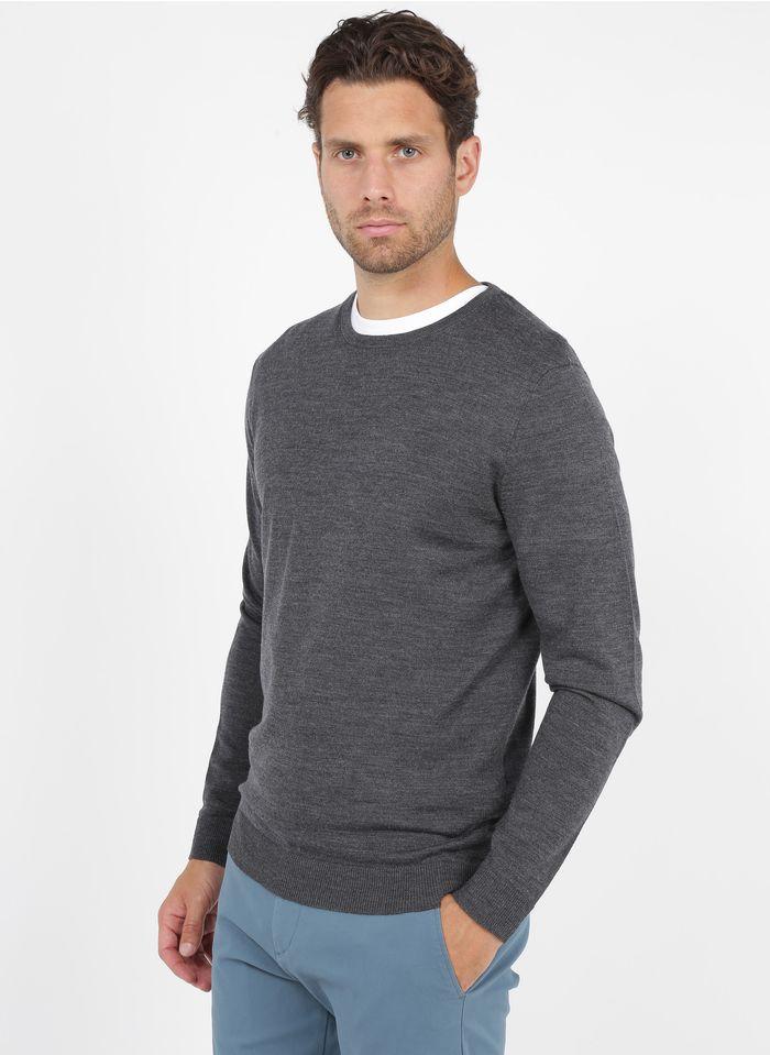 SELECTED Jersey de lana merina con cuello redondo en gris