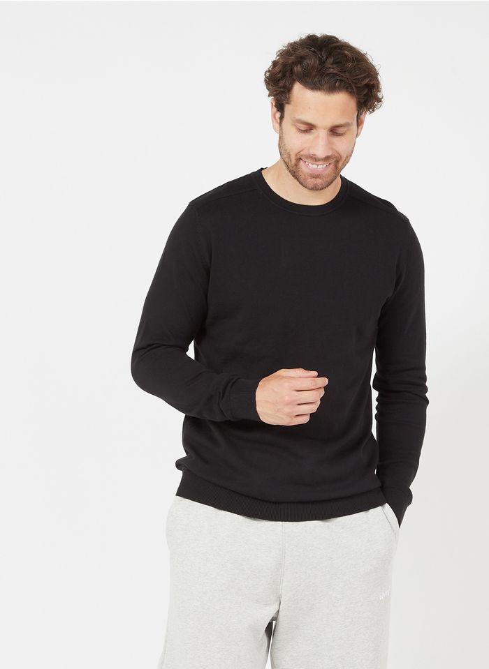 SELECTED Jersey regular fit de algodón con cuello redondo en negro