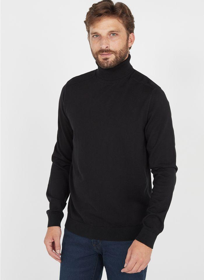 SELECTED Jersey regular fit de algodón con cuello vuelto en negro