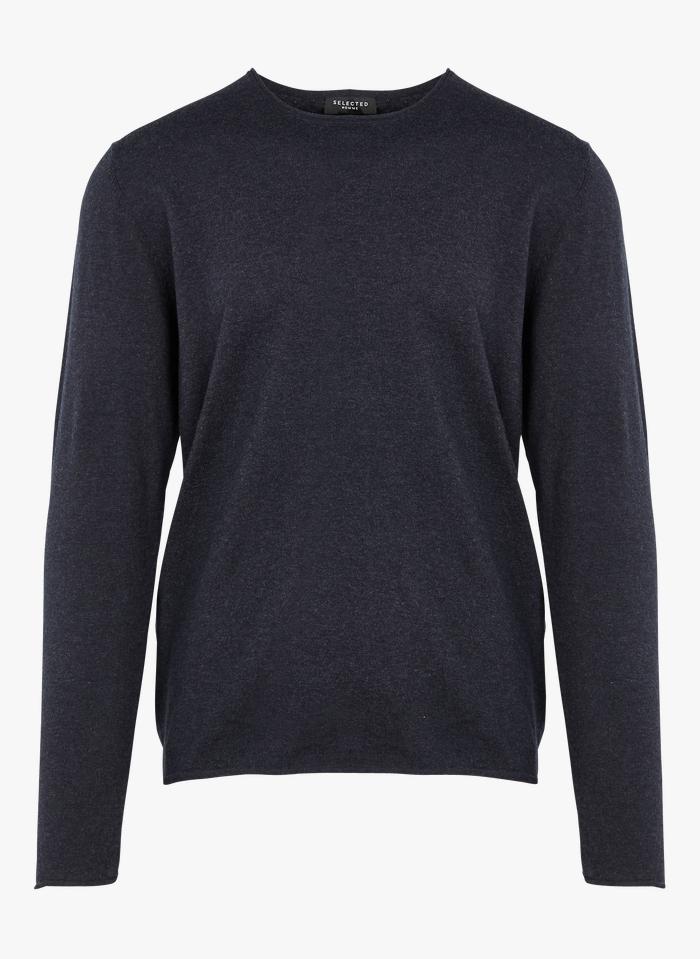 SELECTED Jersey regular fit de mezcla de algodón con cuello redondo en azul