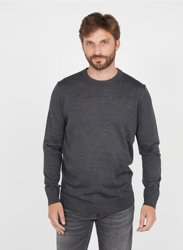 SELECTED Jersey regular fit de mezcla de lana con cuello redondo en gris