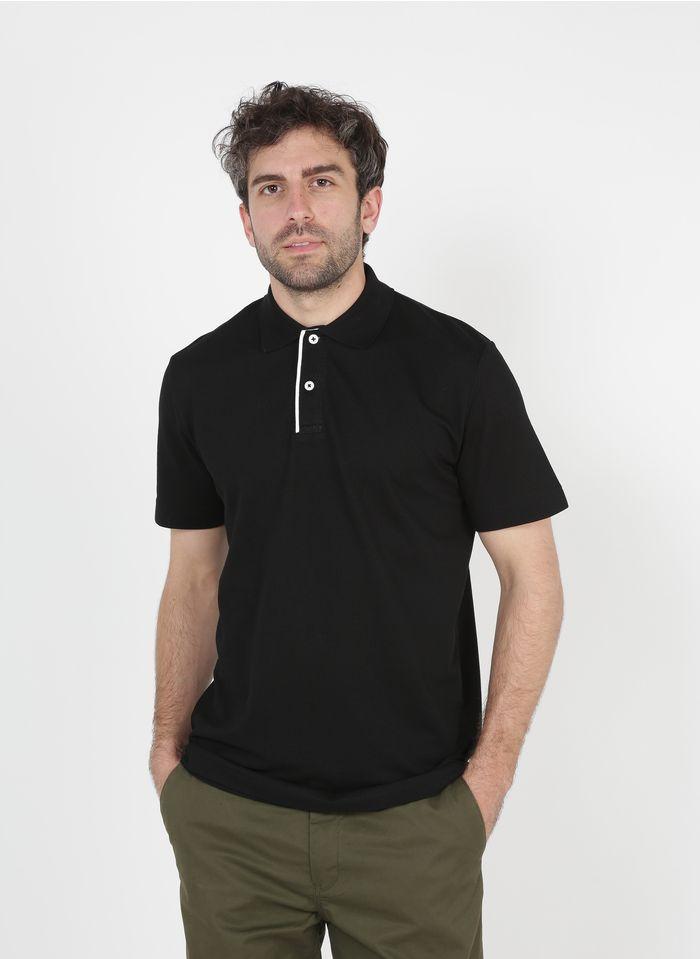 SELECTED Polo regular fit de mezcla de algodón en negro
