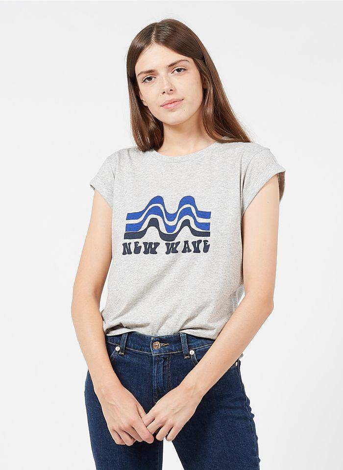 SOEUR Camiseta de algodón con cuello redondo y mensaje serigrafiado en gris