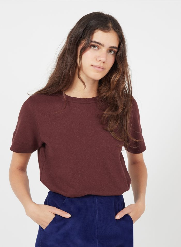 SOEUR Camiseta de algodón y lino con cuello redondo en rojo