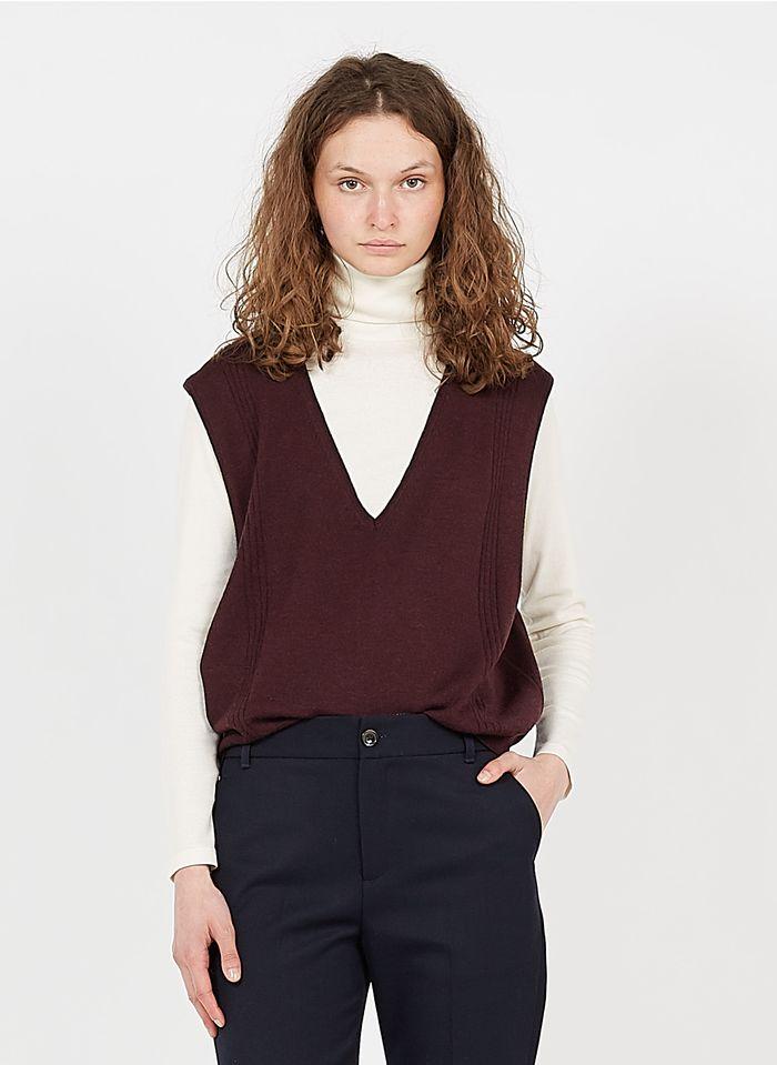SOEUR Camiseta de tirantes de lana con cuello de pico en morado