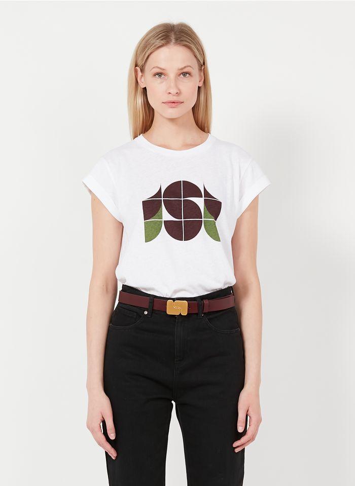 SOEUR Camiseta serigrafiada de algodón y lino con cuello redondo en blanco