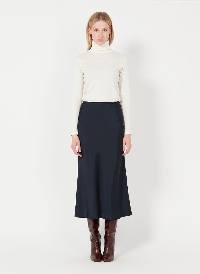SOEUR Falda larga recta de satén en azul