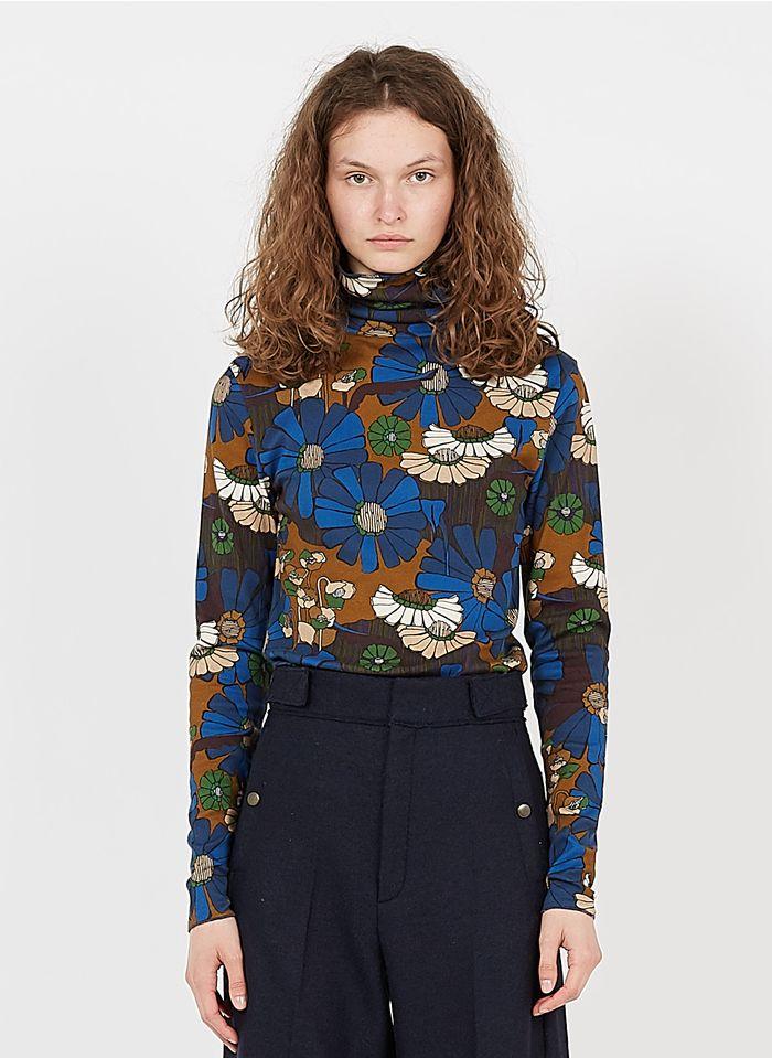 SOEUR Jersey de cuello vuelto de algodón con estampado floral en azul