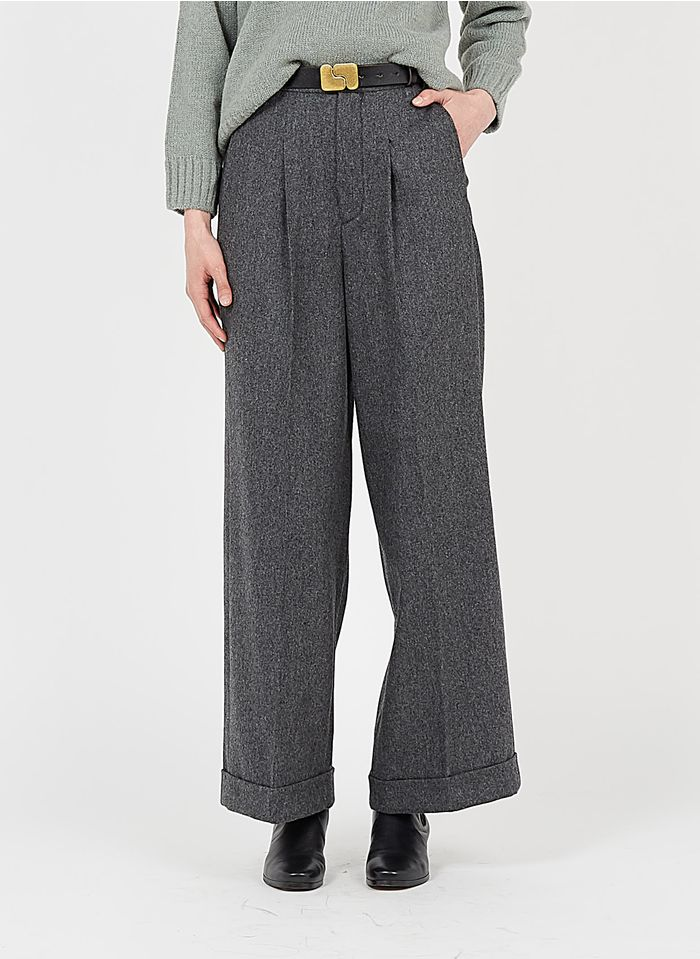 SOEUR Pantalón ancho de lana talle alto en gris