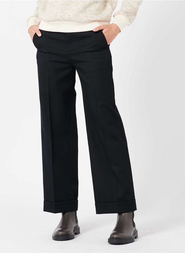 SOEUR Pantalón ancho de mezcla de lana en negro