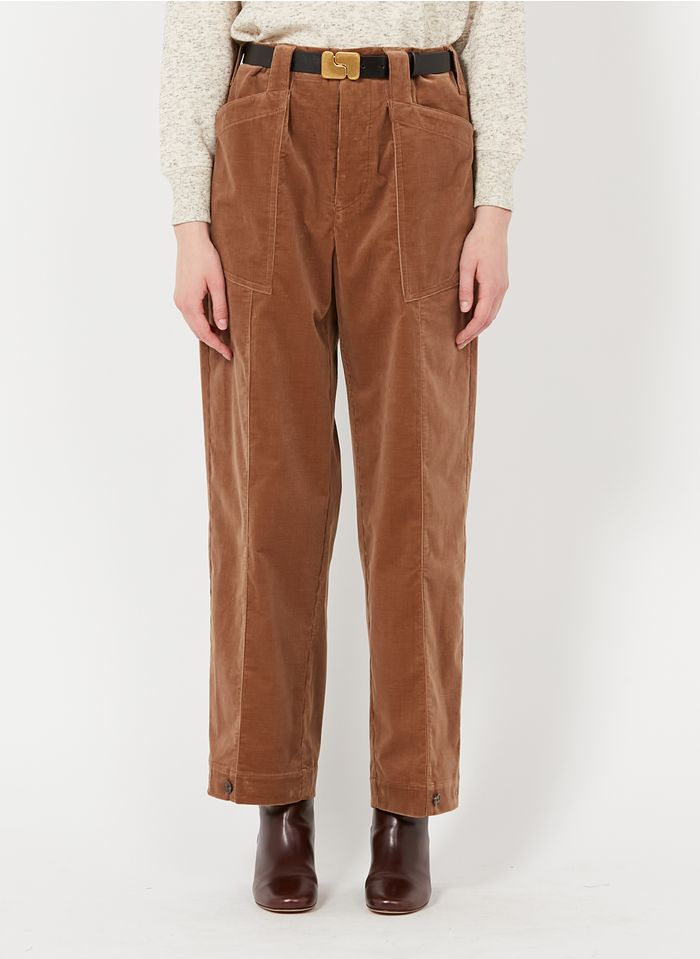 SOEUR Pantalón ancho de terciopelo en beige