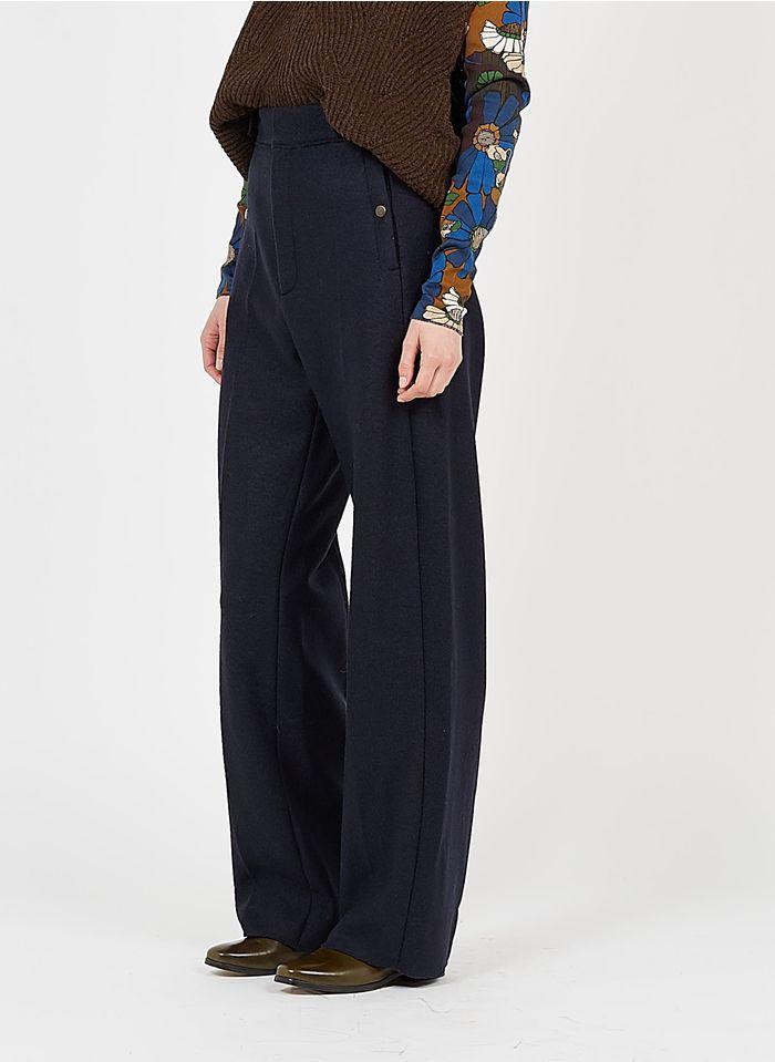 SOEUR Pantalón recto de lana de talle alto en azul
