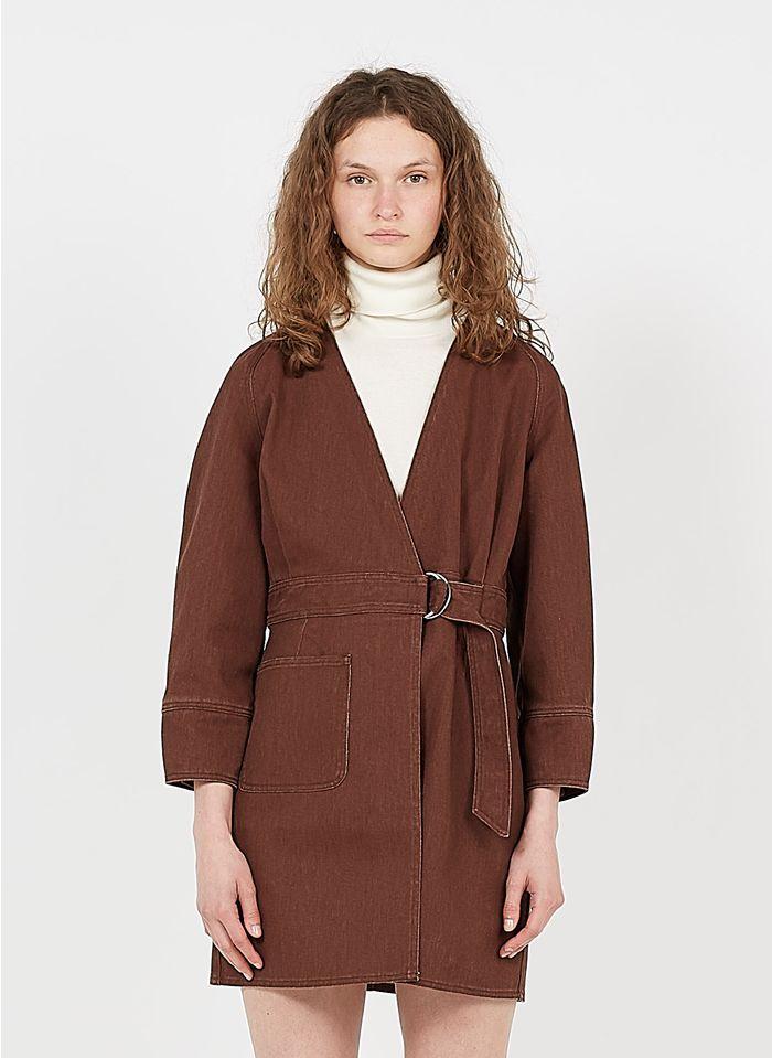 SOEUR Vestido corto de algodón vaquero con cuello de pico cruzado en rojo