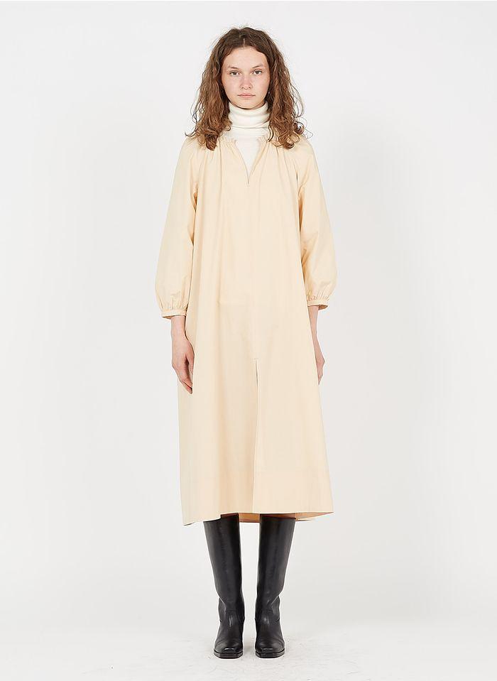 SOEUR Vestido midi de algodón con cuello tunecino en beige