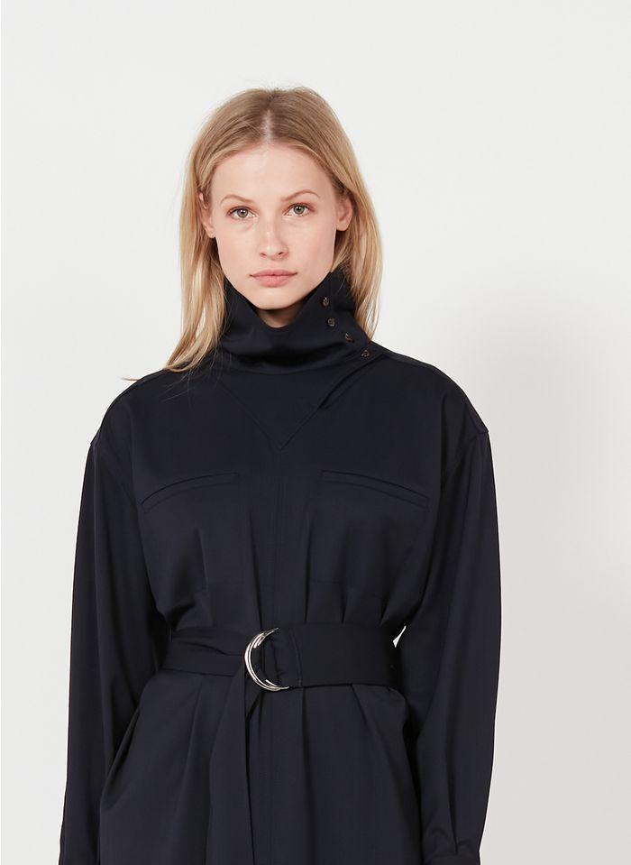 SOEUR Vestido midi de mezcla de lana con cuello redondo en azul