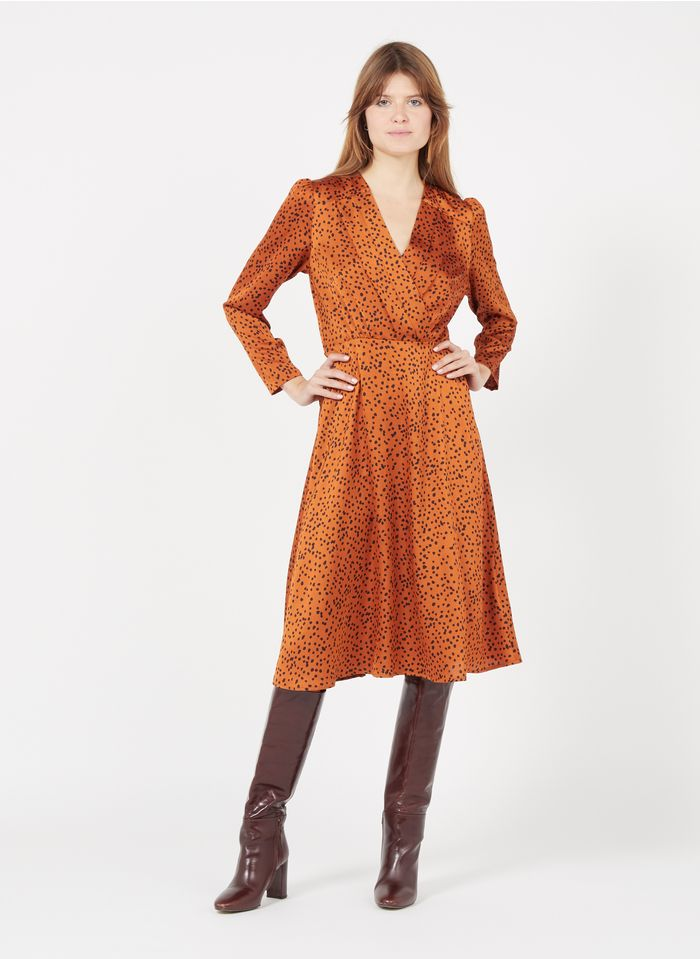 SUNCOO Vestido midi estampado con cuello de pico en naranja