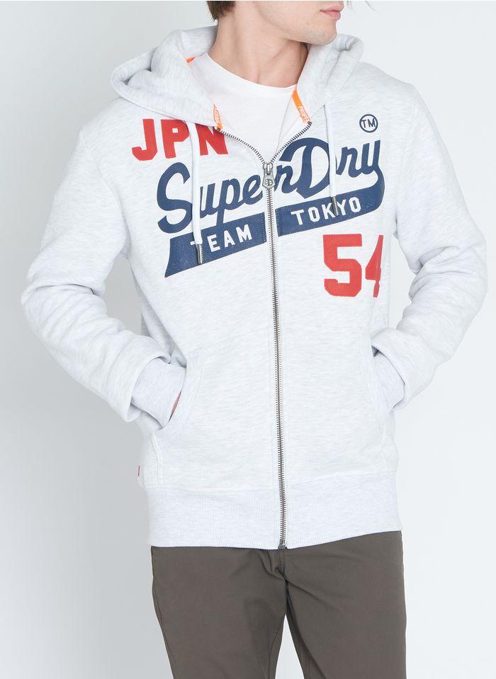 SUPERDRY Sudadera de mezcla de algodón con capucha serigrafiada regular fit en blanco