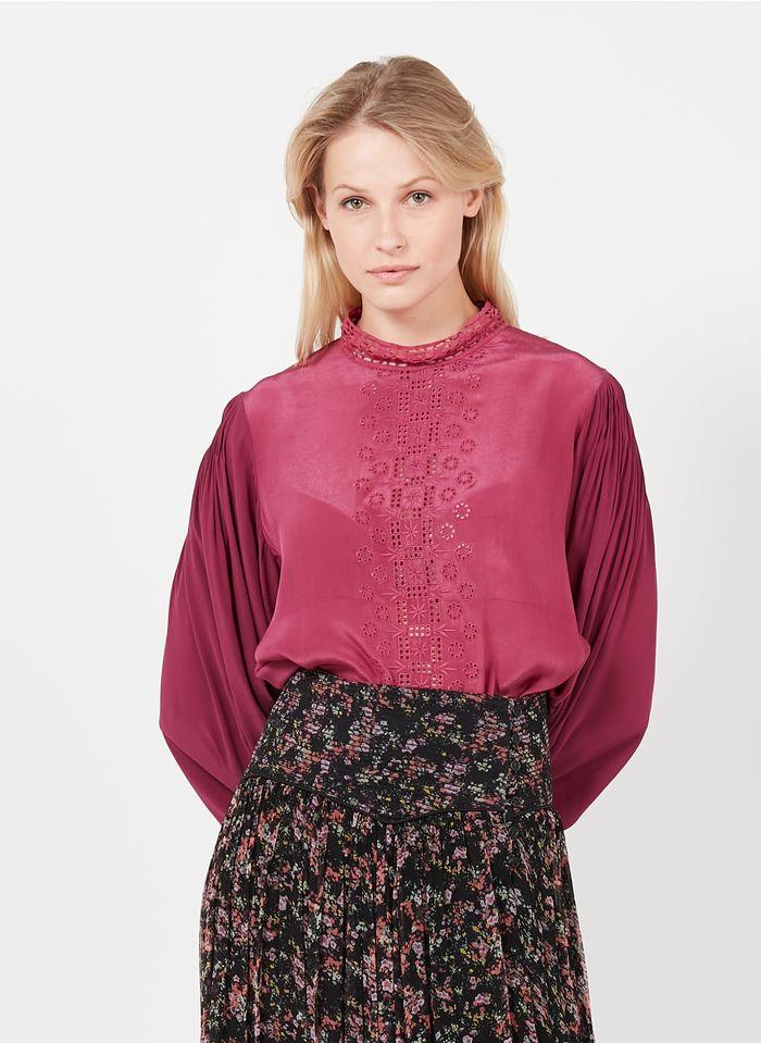 SWILDENS Camisa bordada con cuello alto en rosa